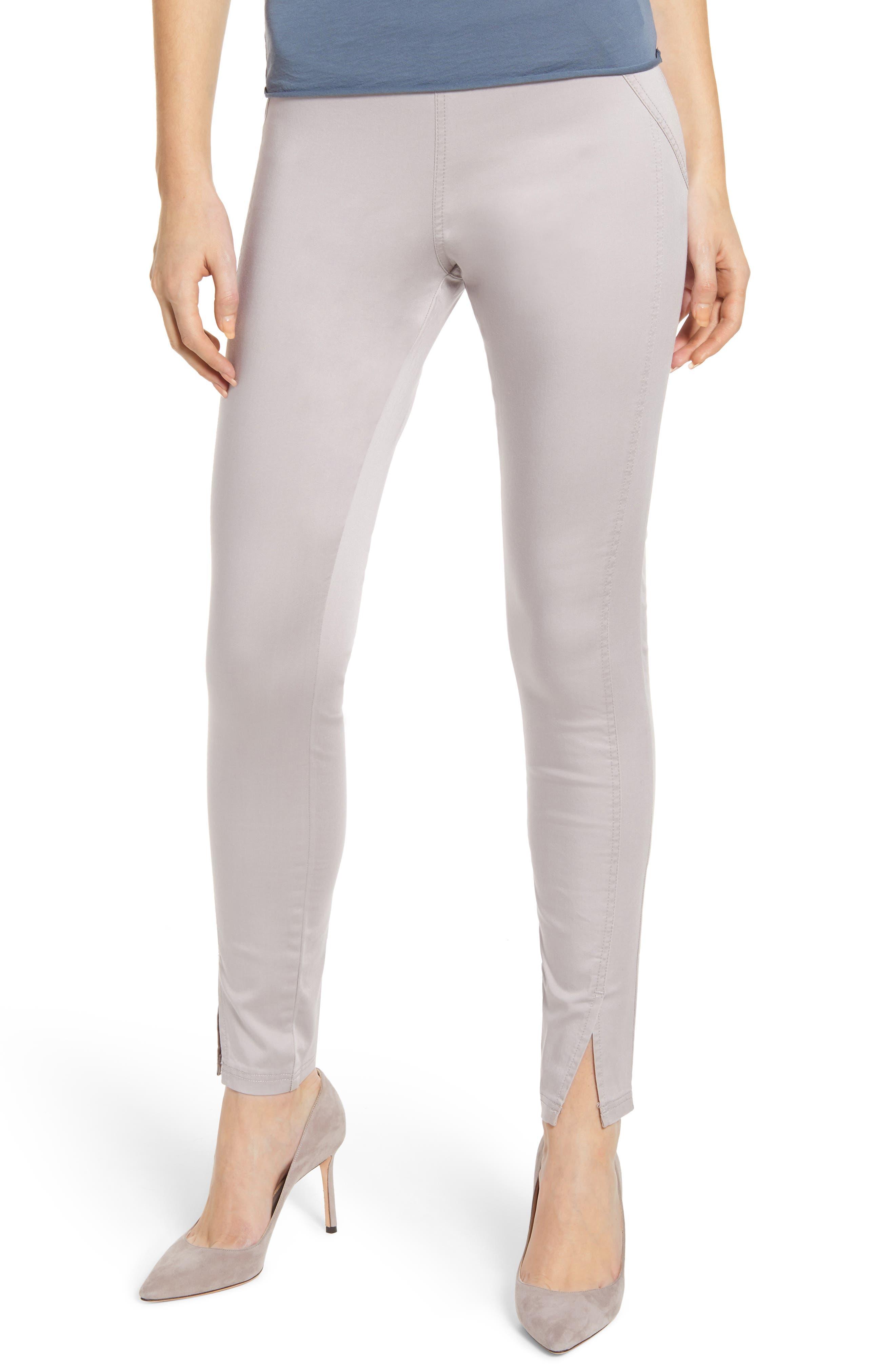 Hue High Waist Sateen Skimmer Leggings, Grey