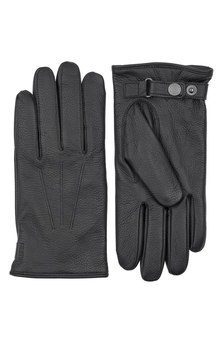 HESTRA Eldner Elk Leather Gloves, Main, color, BLACK