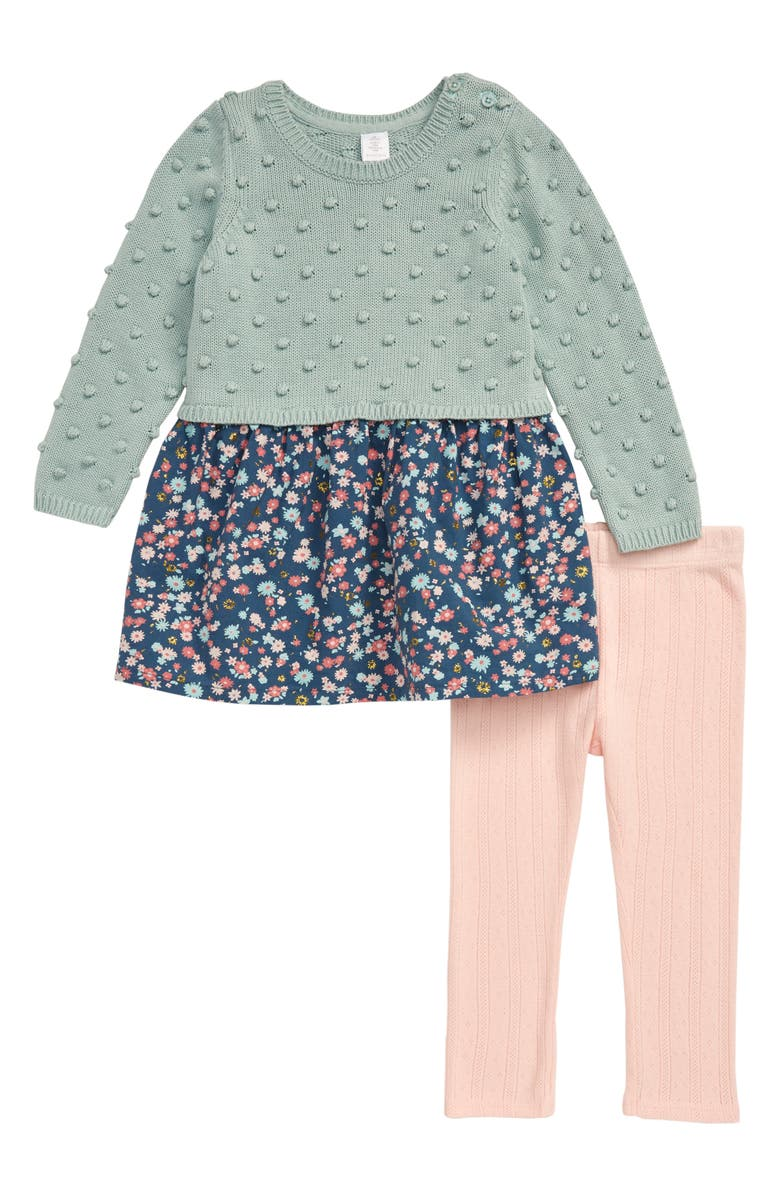 NORDSTROM Mix Sweater Dress & Knit Leggings Set, Main, color, TEAL INDIA WOODSY FLORAL