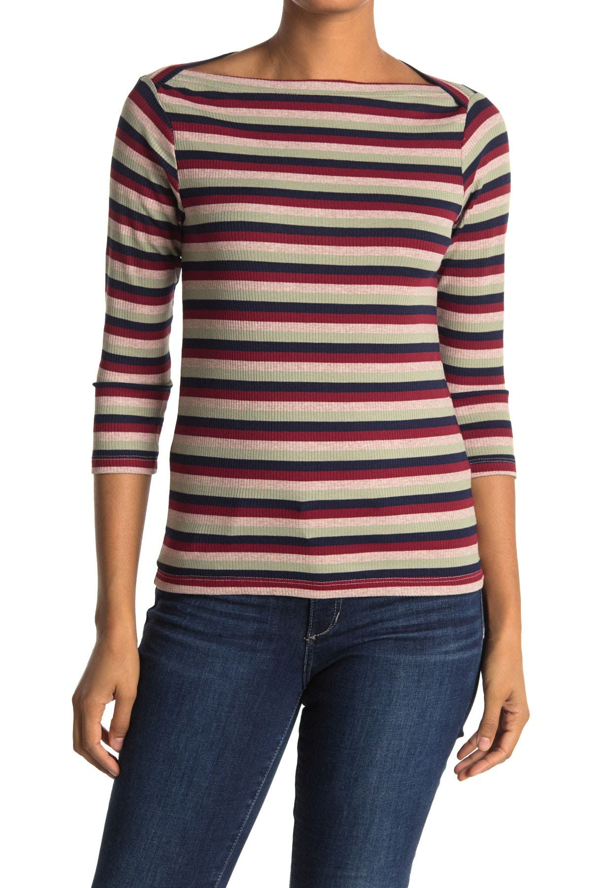 Image of Stateside Striped 3/4 Sleeve Boatneck Top