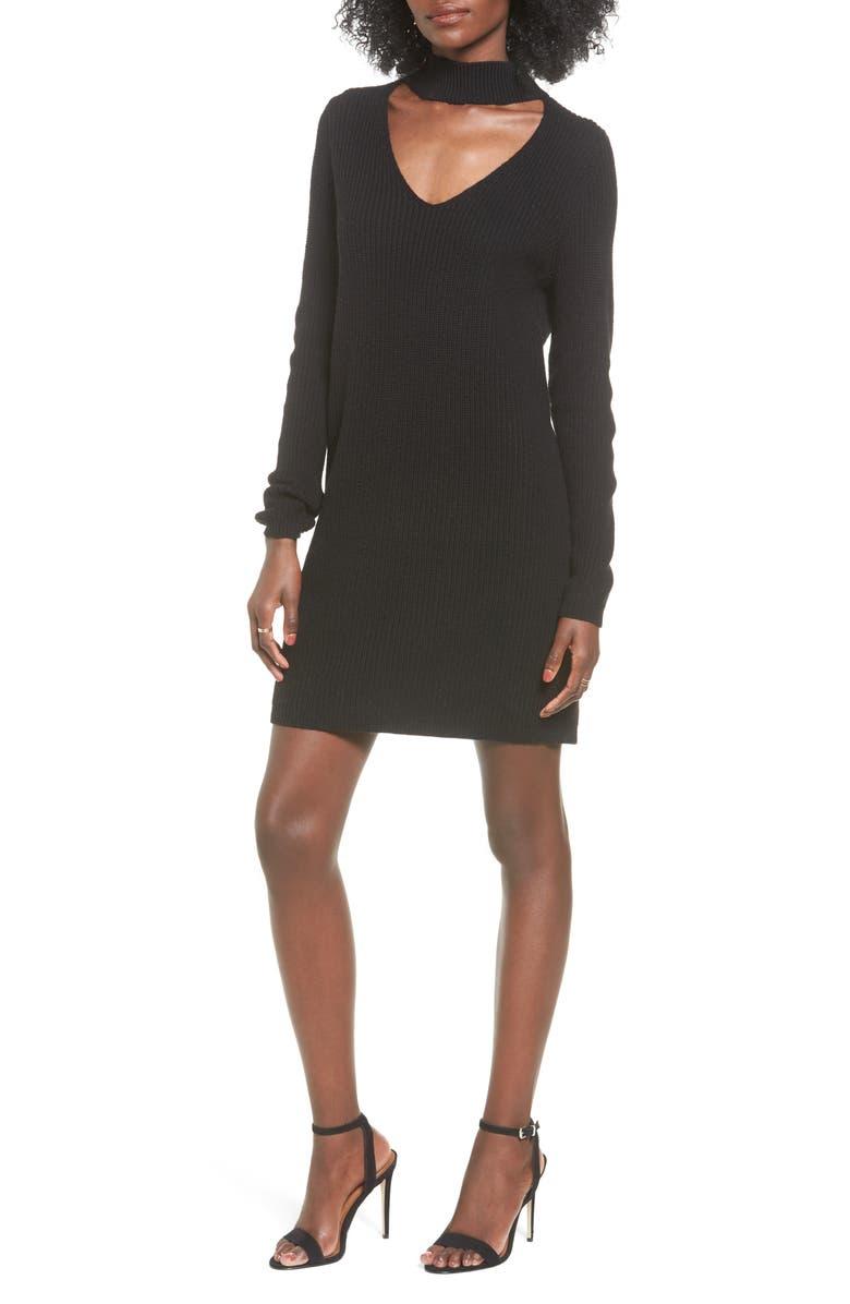 BP. BP Cutout Choker Sweater Dress, Main, color, 001