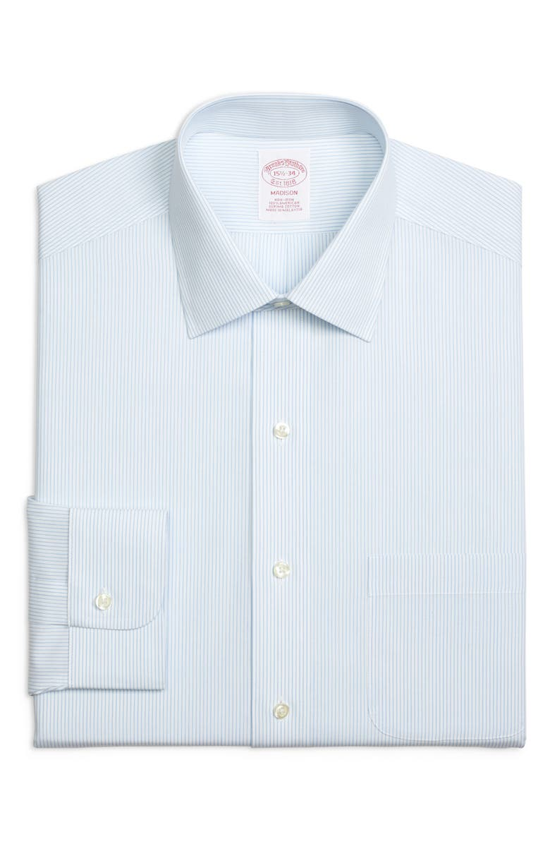 BROOKS BROTHERS Madison Classic Fit Stripe Dress Shirt, Main, color, LIGHT/ PASTEL BLUE
