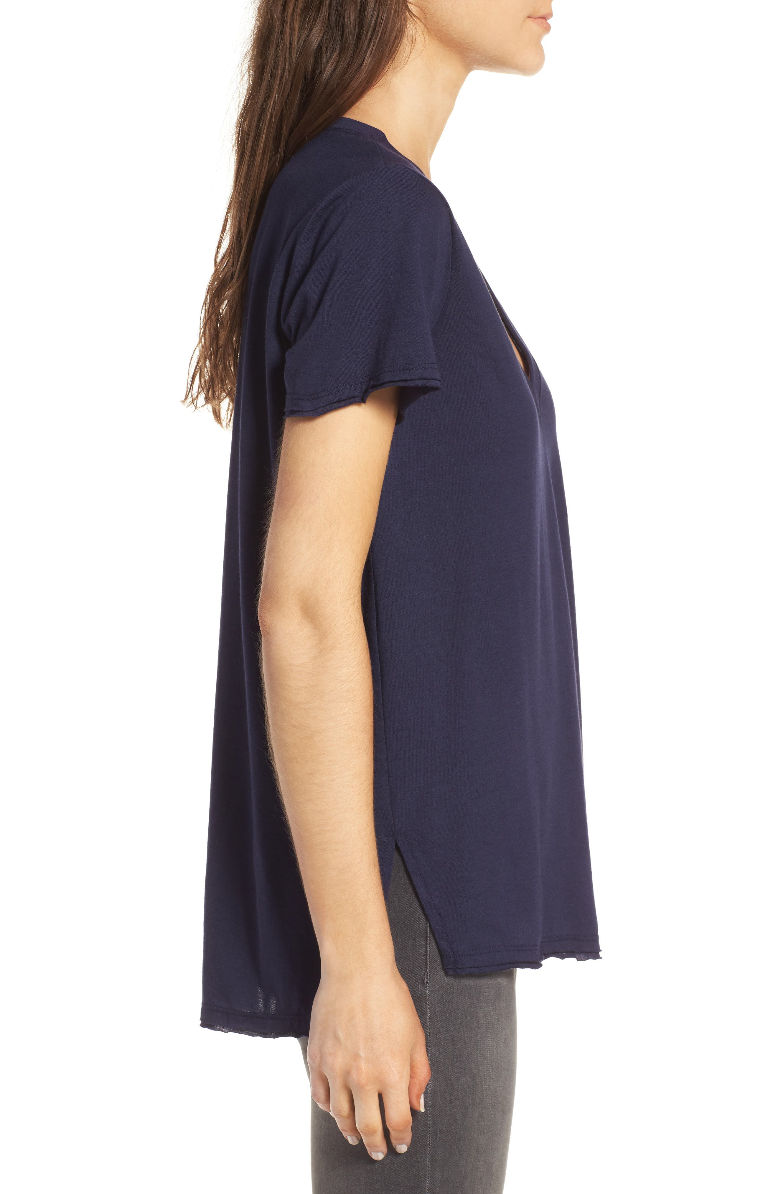 ,                             Raw Edge Side Slit Tee,                             Alternate thumbnail 38, color,                             406