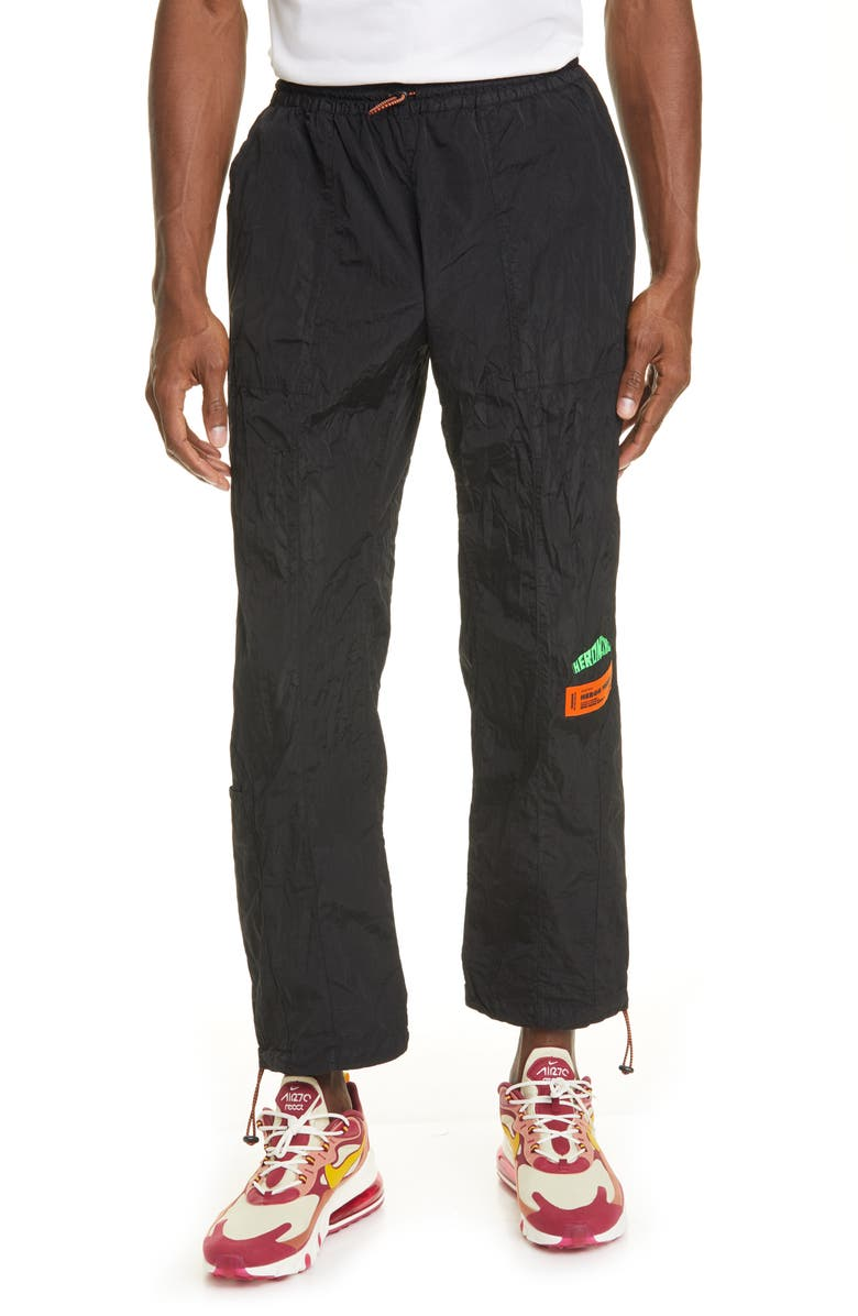 HERON PRESTON Windbreaker Pants, Main, color, BLACK GREEN