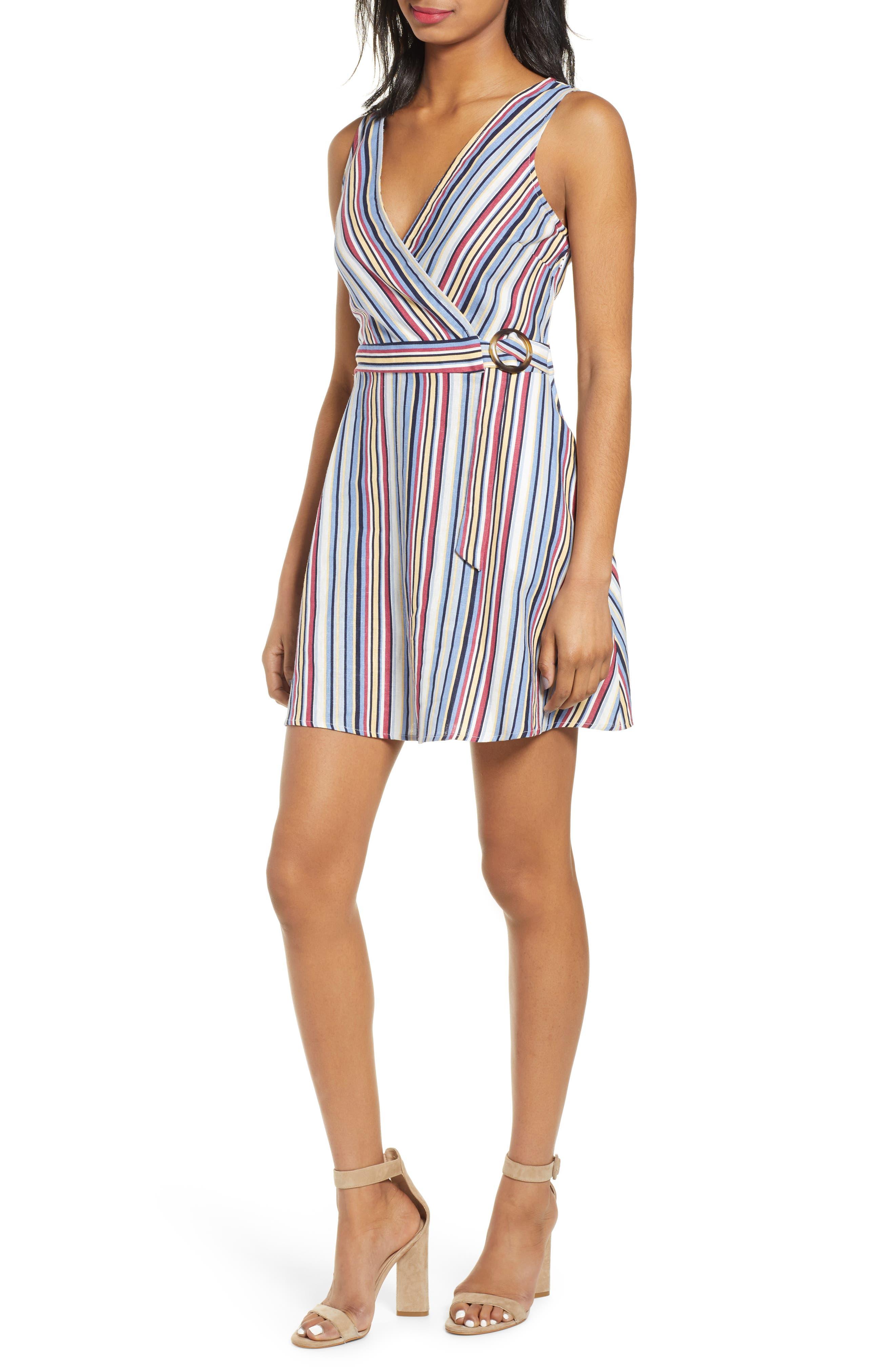 Speechless Stripe Belted Linen Blend Dress, Pink
