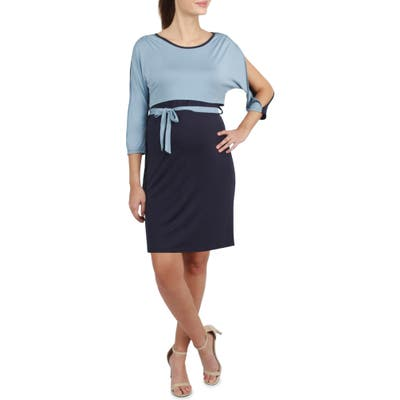 Savi Mom Sienna Two-Tone Maternity/nursing Sheath Dress, Blue