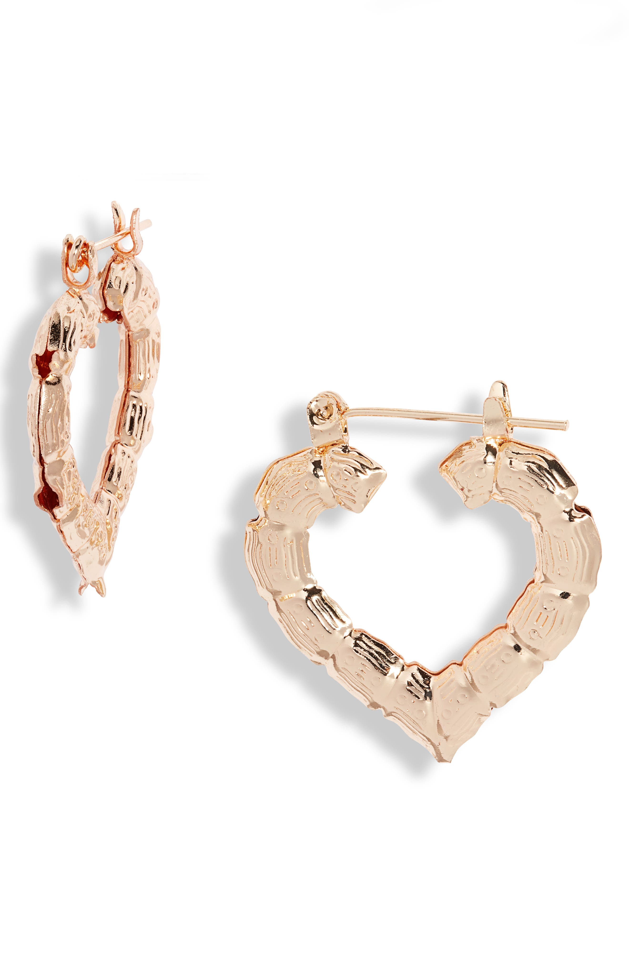 Mini Heart Bamboo Hoop Earrings