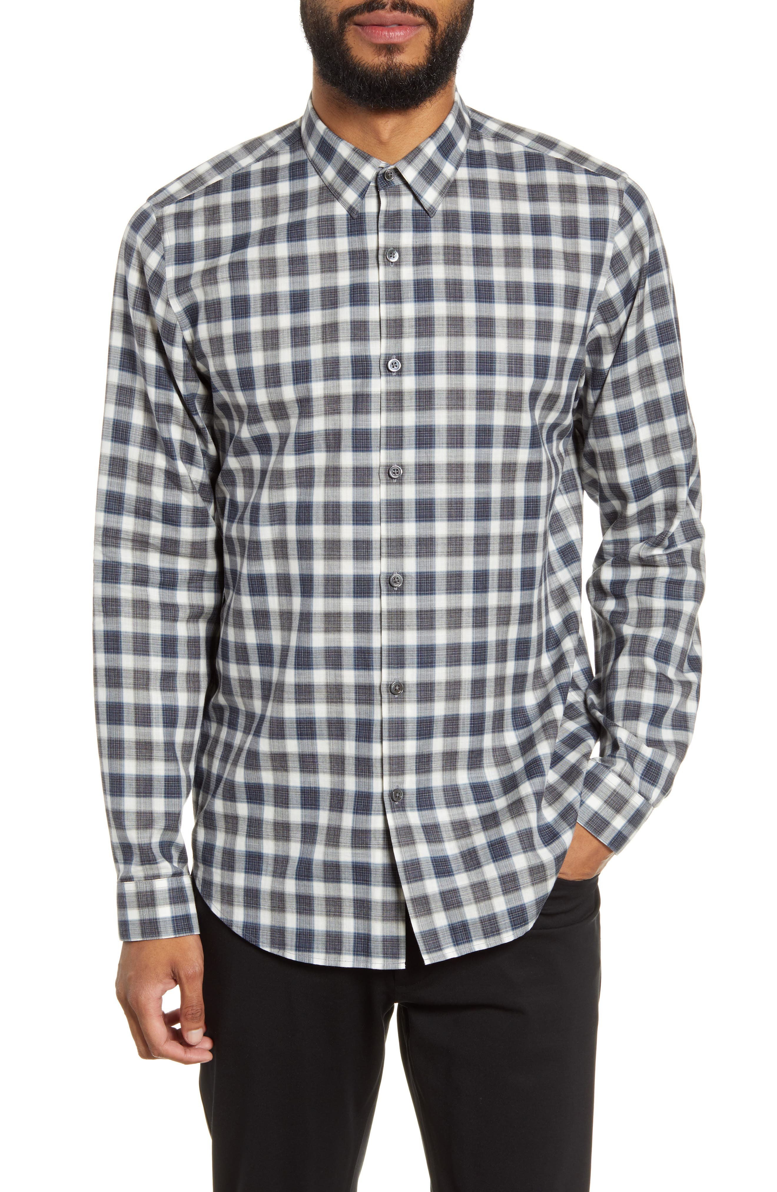 Theory T-shirts Irving Betton Slim Fit Check Button-Up Shirt