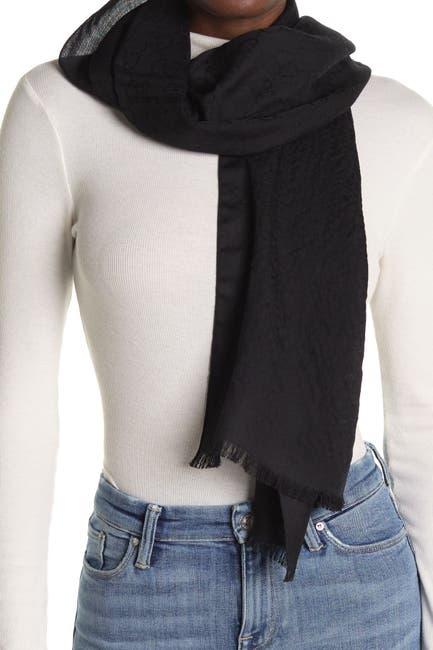 Image of GUCCI GG Pattern Wool Scarf