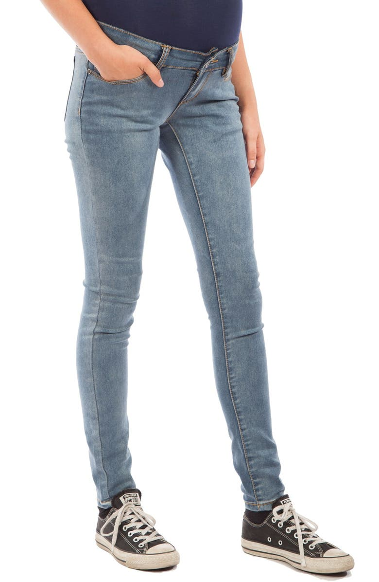 MODERN ETERNITY Skinny Maternity Jeans, Main, color, MEDIUM BLUE WASH