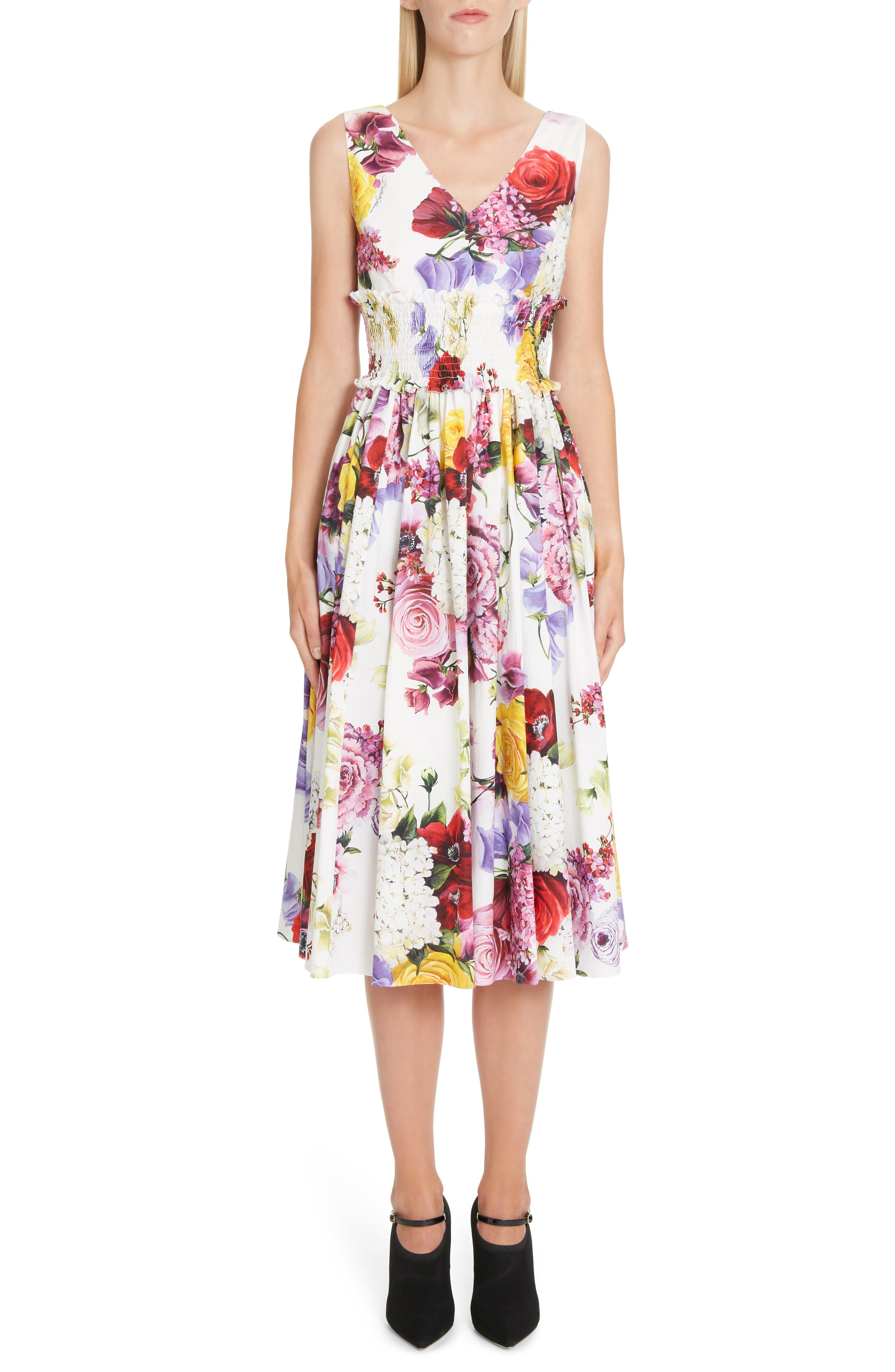Floral Print Smock Waist Poplin Dress, Main, color, PINK FLORAL