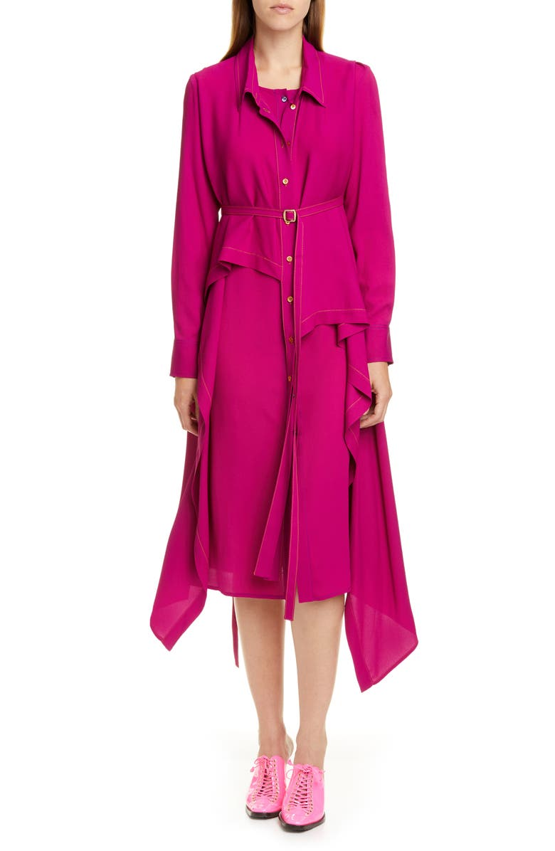 SIES MARJAN Convertible Asymmetrical Long Sleeve Midi Shirtdress, Main, color, MAGENTA