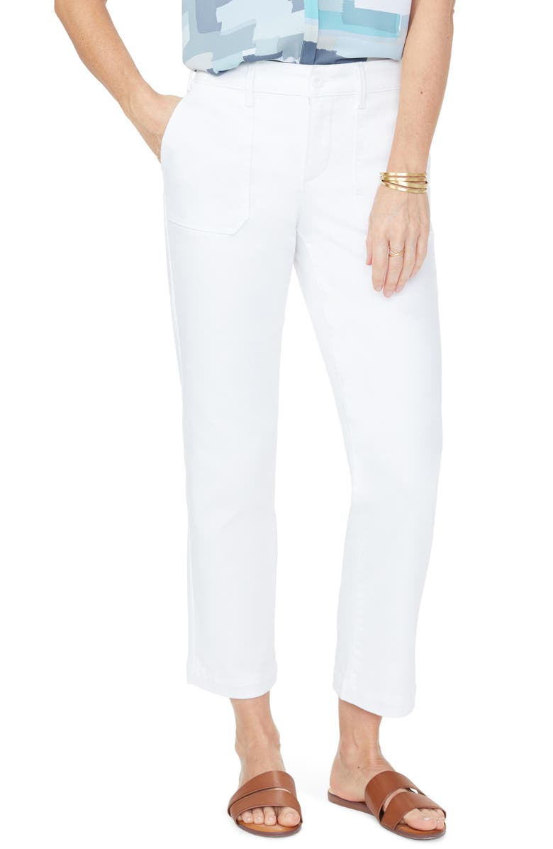NYDJ Ankle Straight Leg Chino Pants, Main, color, OPTIC WHITE
