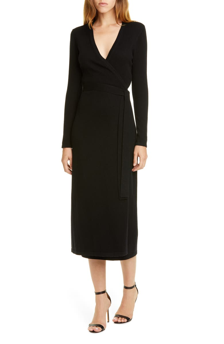 DVF Astrid Long Sleeve Wool & Cashmere Wrap Dress, Main, color, BLACK