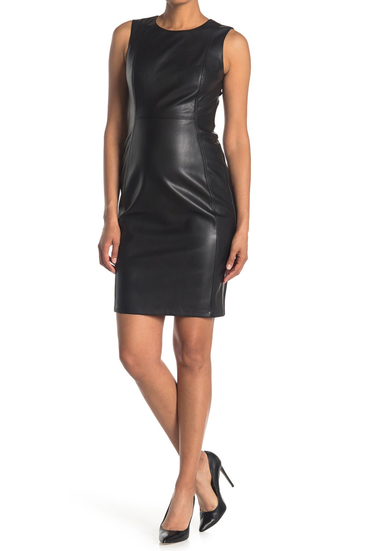 Image of Calvin Klein Sleeveless Seamed Faux Leather Dress