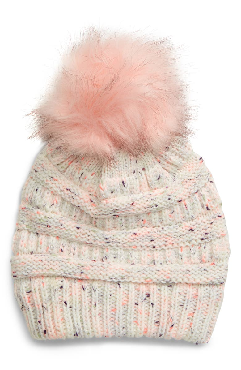 TUCKER + TATE Faux Fur Pompom Beanie, Main, color, IVORY EGRET MULTI