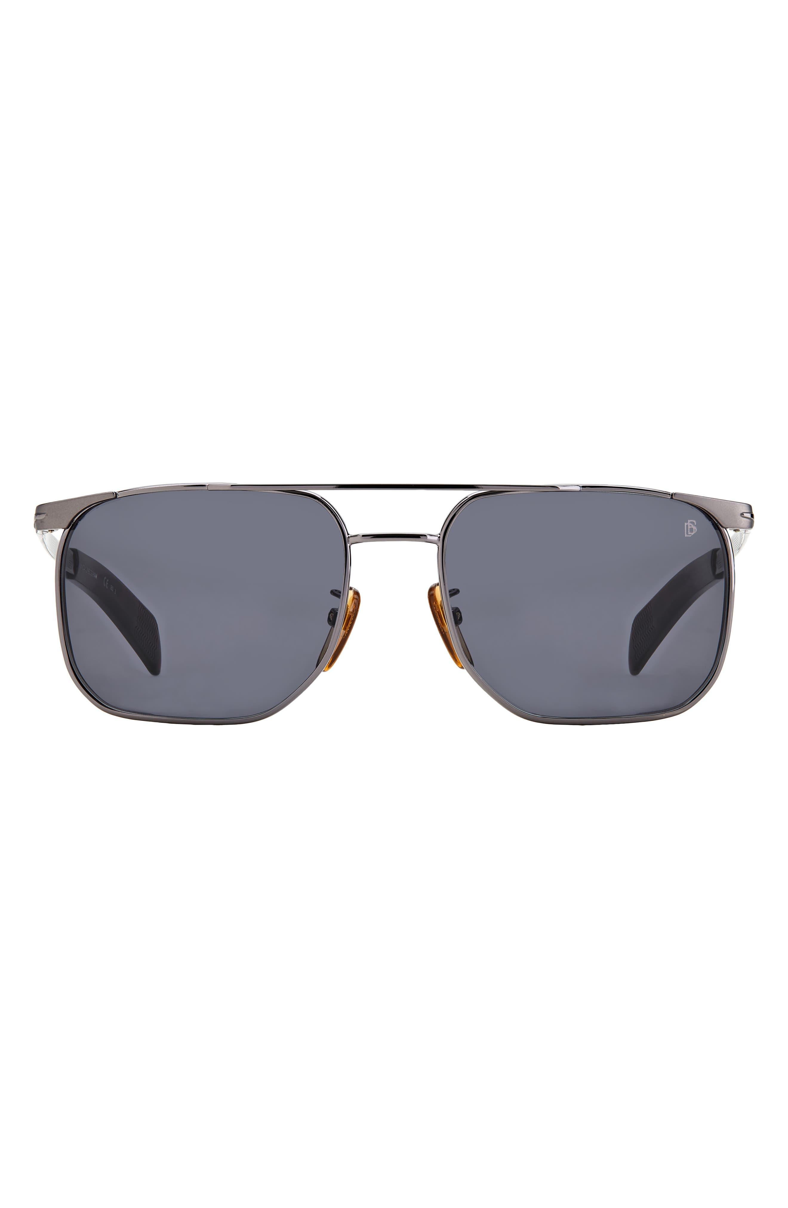 Men's David Beckham 56mm Rectangular Sunglasses