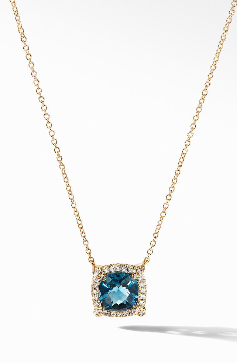 DAVID YURMAN Petite Chatelaine<sup>®</sup> Pavé Bezel Pendant Necklace in 18k Gold, Main, color, HAMPTON BLUE TOPAZ