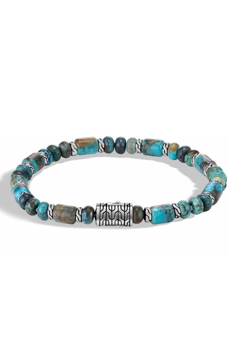 JOHN HARDY Turquoise Bead Bracelet, Main, color, SILVER