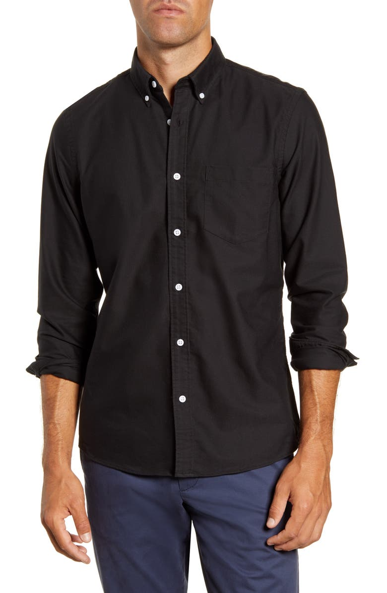 1901 Trim Fit Washed Oxford Shirt, Main, color, BLACK OXFORD