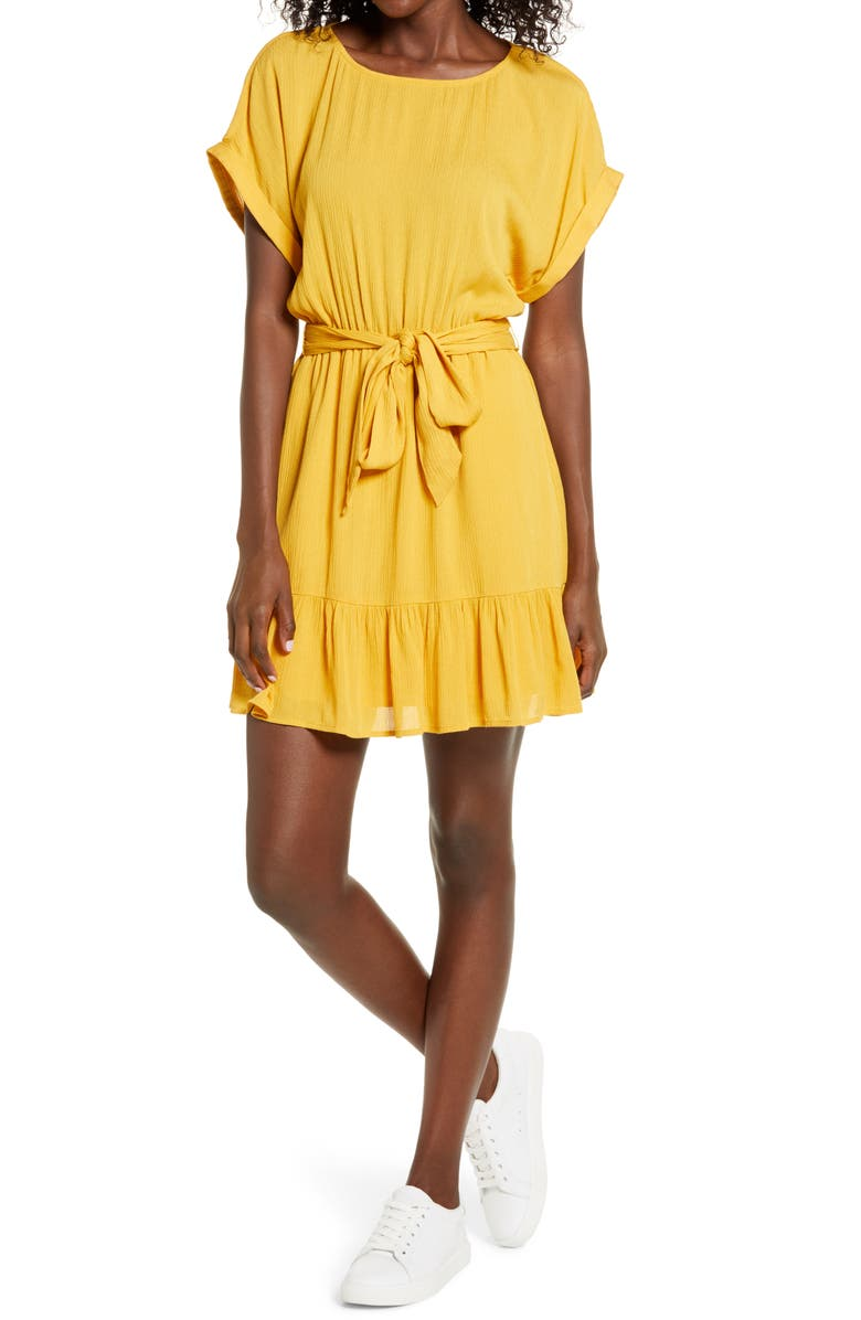 BB DAKOTA Belted Short Sleeve Crinkle Woven Dress, Main, color, CANARY