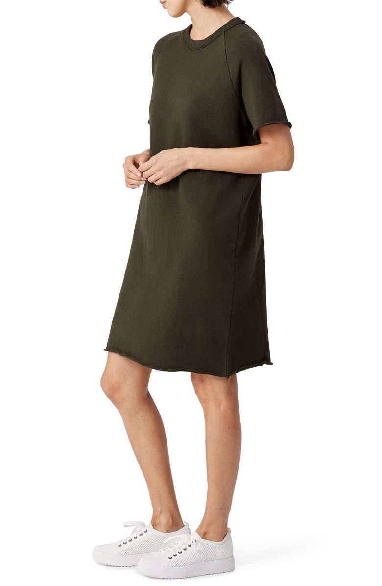 EILEEN FISHER Raglan Organic Cotton Sweatshirt Dress, Main, color, SEAWD