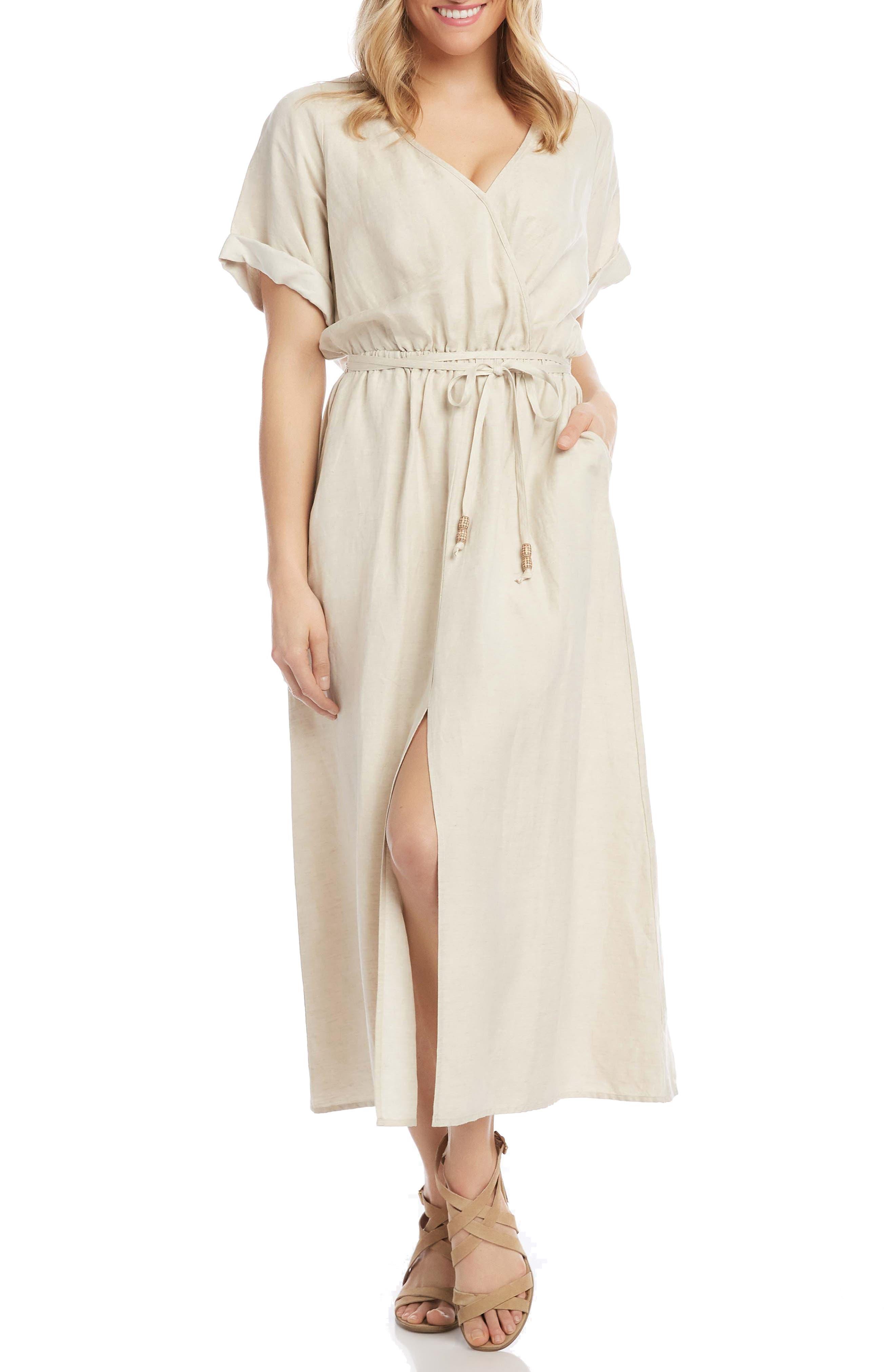 Cuff Sleeve Linen Blend Faux Wrap Dress