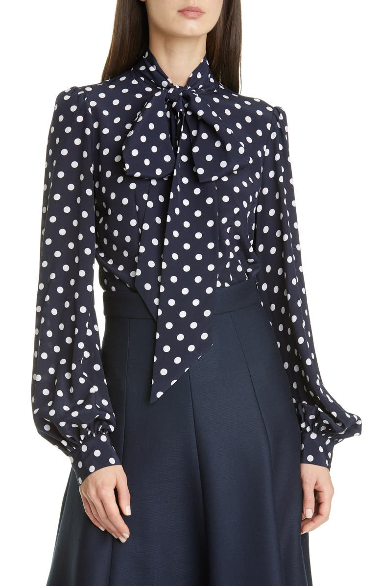 MICHAEL KORS COLLECTION Tie Neck Polka Dot Silk Blouse, Main, color, MIDNIGHT/ OPTIC WHITE