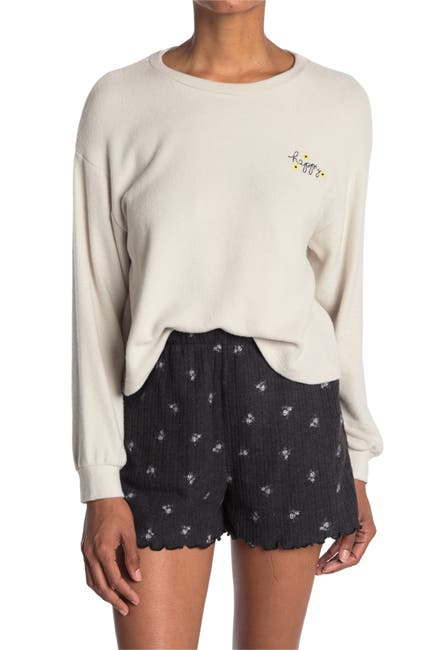 Image of Lush Happy Embroidered Crop Sweatshirt