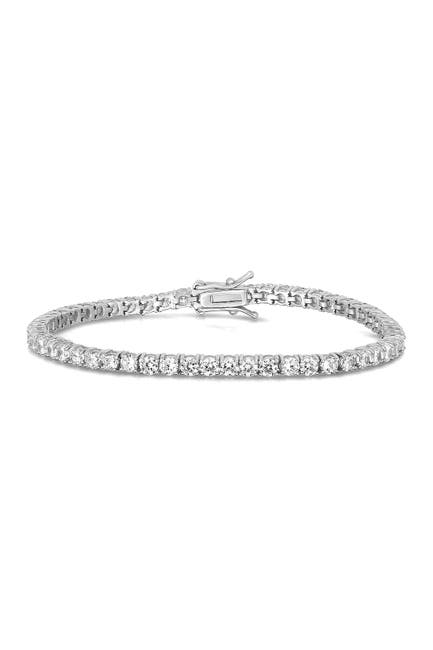 Image of Sphera Milano 14K White Gold Plated Sterling Silver CZ Tennis Bracelet