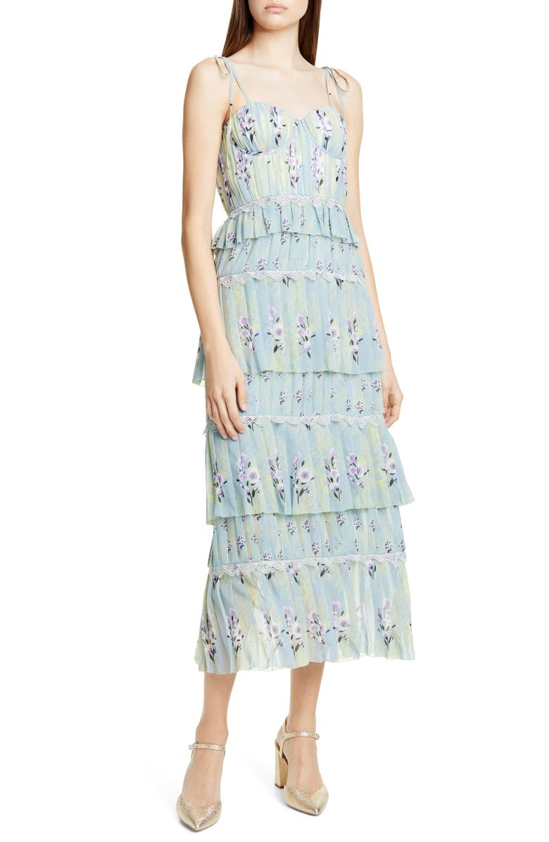 SELF-PORTRAIT Floral Pleated Tiered Chiffon Midi Dress, Main, color, 300