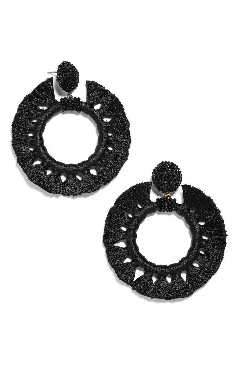BAUBLEBAR Adrita Beaded Tassel Hoop Earrings, Main, color, BLACK