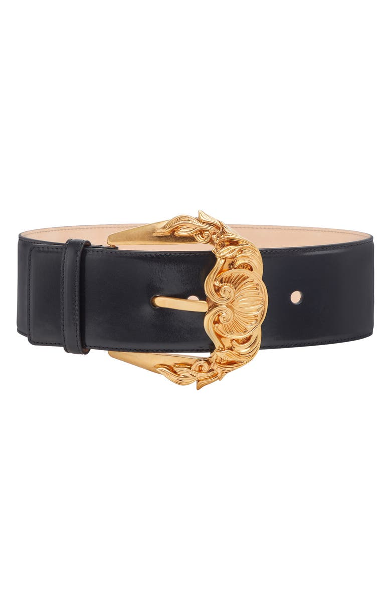 VERSACE FIRST LINE Baroque Buckle Leather Belt, Main, color, NERO/ORO TRIBUTE