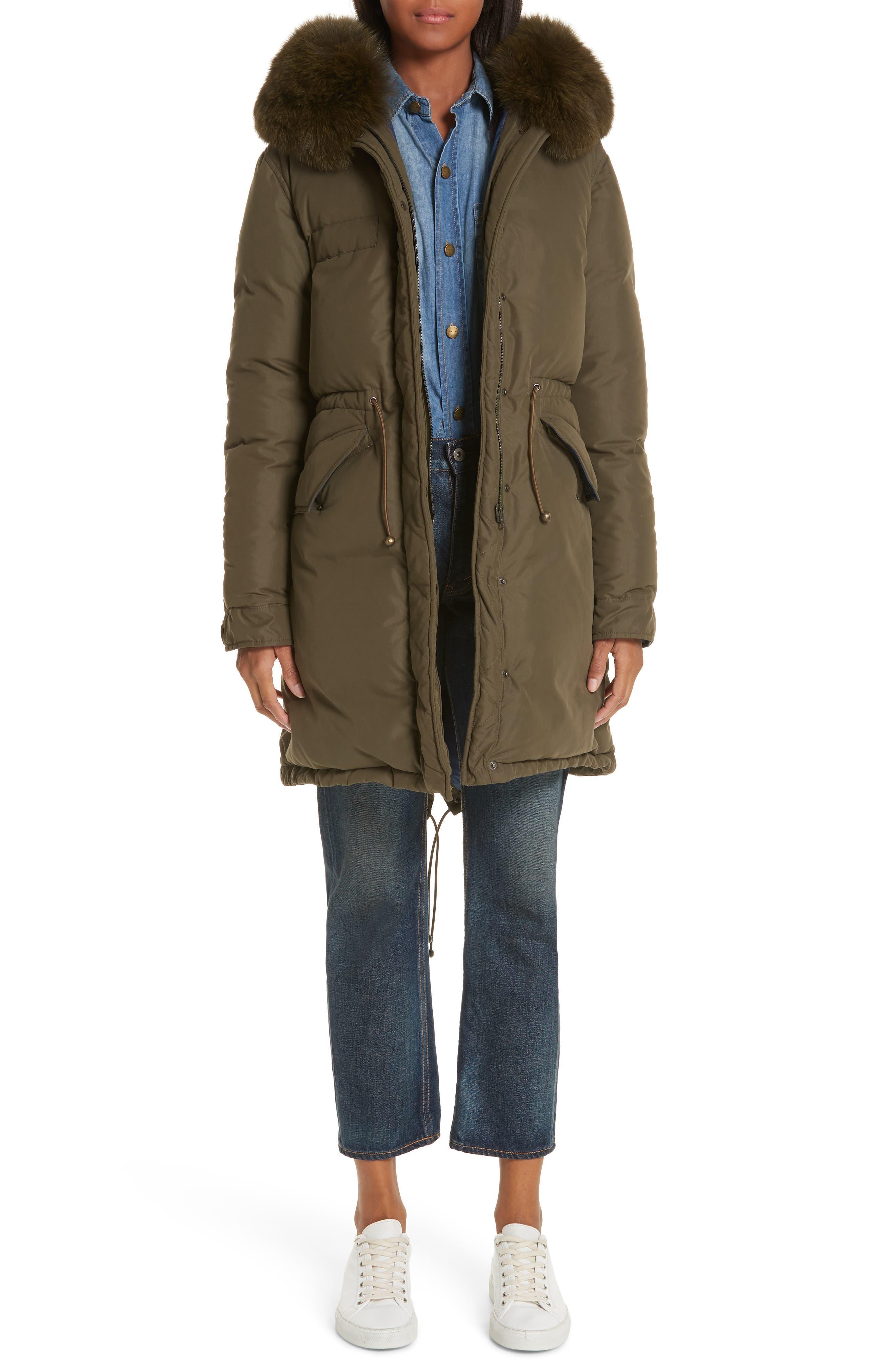,                             Genuine Fox Fur Trim Down Puffer Coat,                             Main thumbnail 1, color,                             300