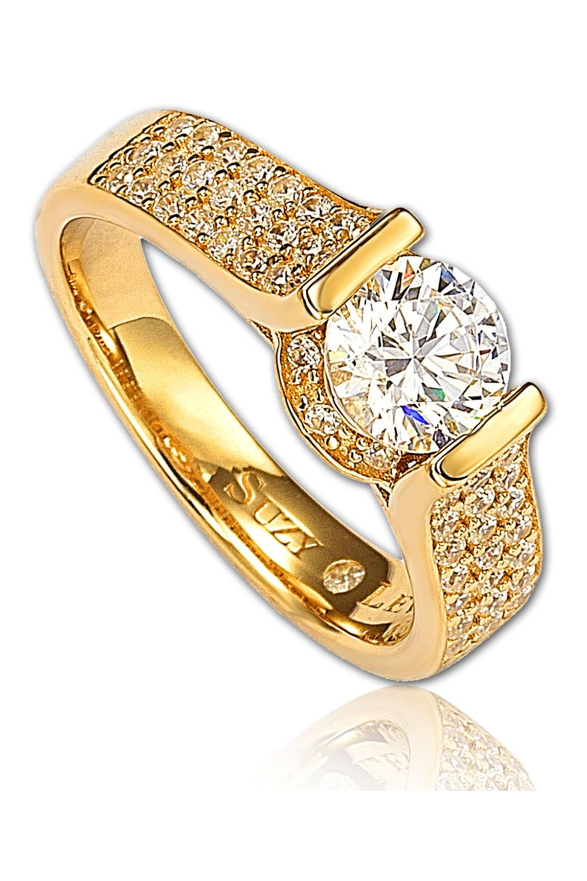 Image of Suzy Levian Bridal Golden Sterling Silver CZ Ring