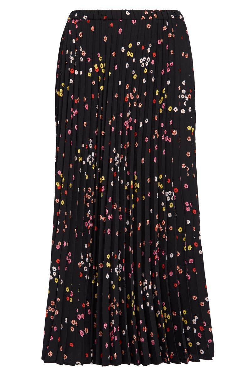 HALOGEN<SUP>®</SUP> Pleated Midi Skirt, Main, color, BLACK MULTI GALINA FLORAL