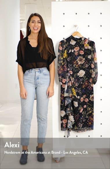 Ruffle High Neck Floral Chiffon Dress, sales video thumbnail