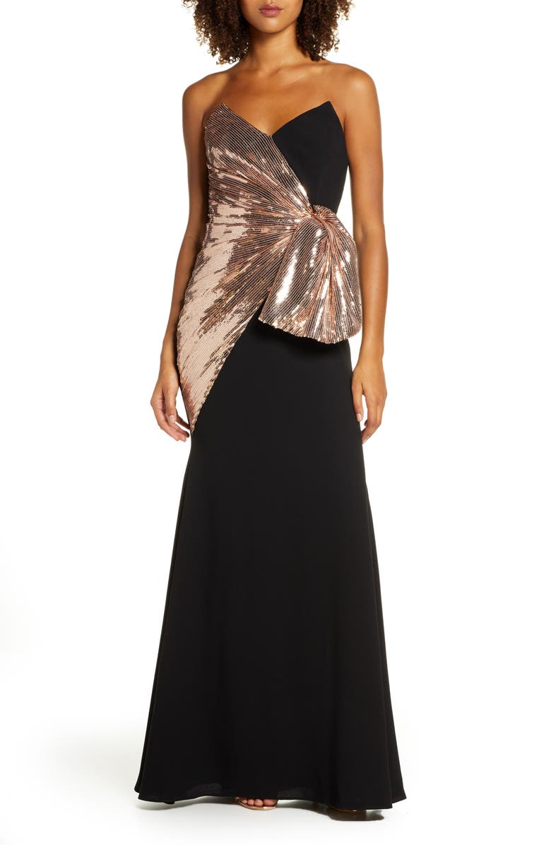 JILL JILL STUART Strapless Sequin & Crepe Bow Front Gown, Main, color, BLACK AND ROSE GOLD