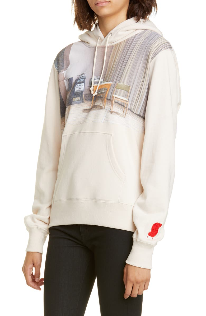 UNDERCOVER Suspiria Graphic Cotton Hoodie, Main, color, A IVORY
