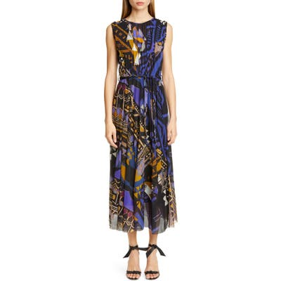 Fuzzi Print Belted Gathered Midi Dress, Black