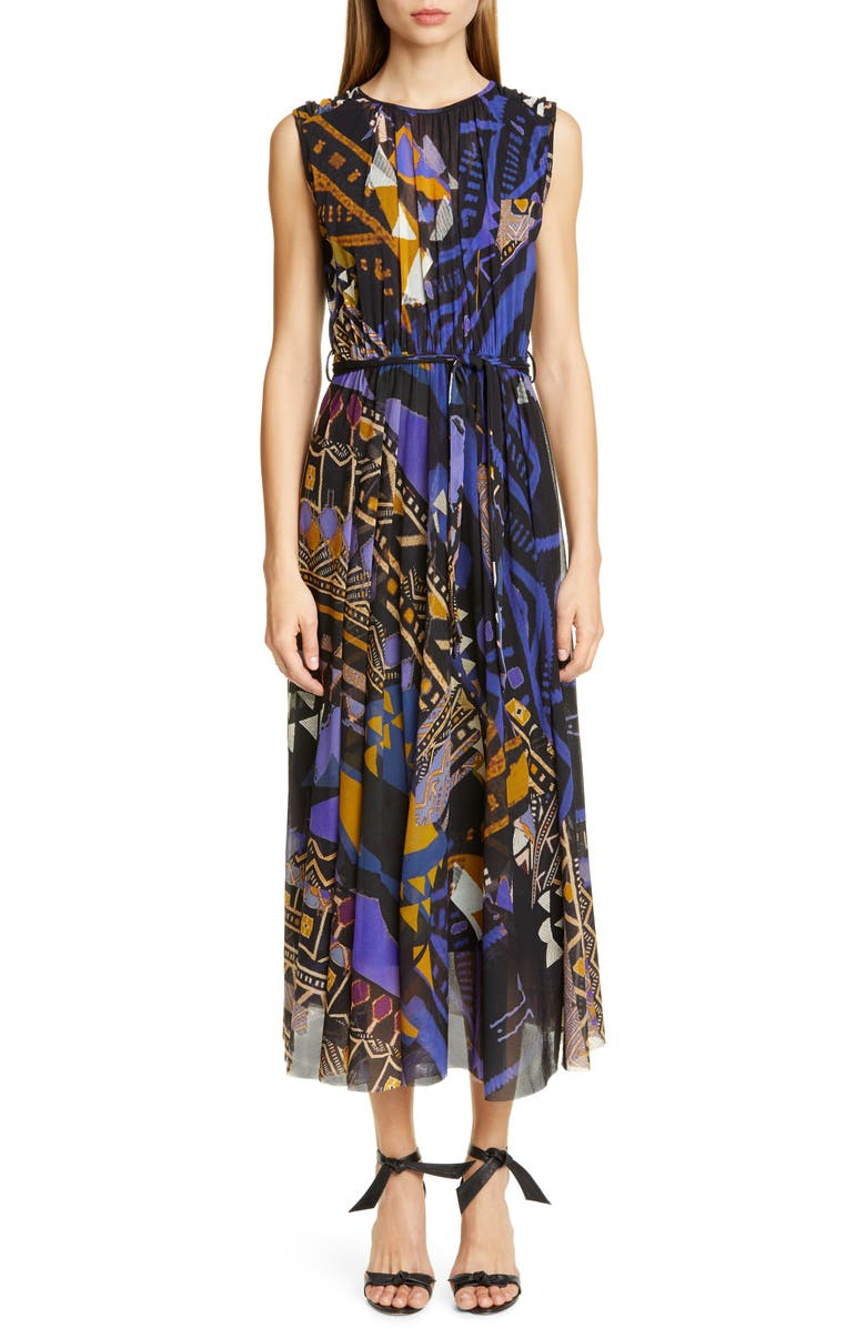 FUZZI Print Belted Gathered Midi Dress, Main, color, BLUE MULTI