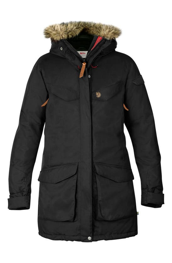 Fjall Raven Nuuk Waterproof Parka With Removable Faux Fur Trim In Black