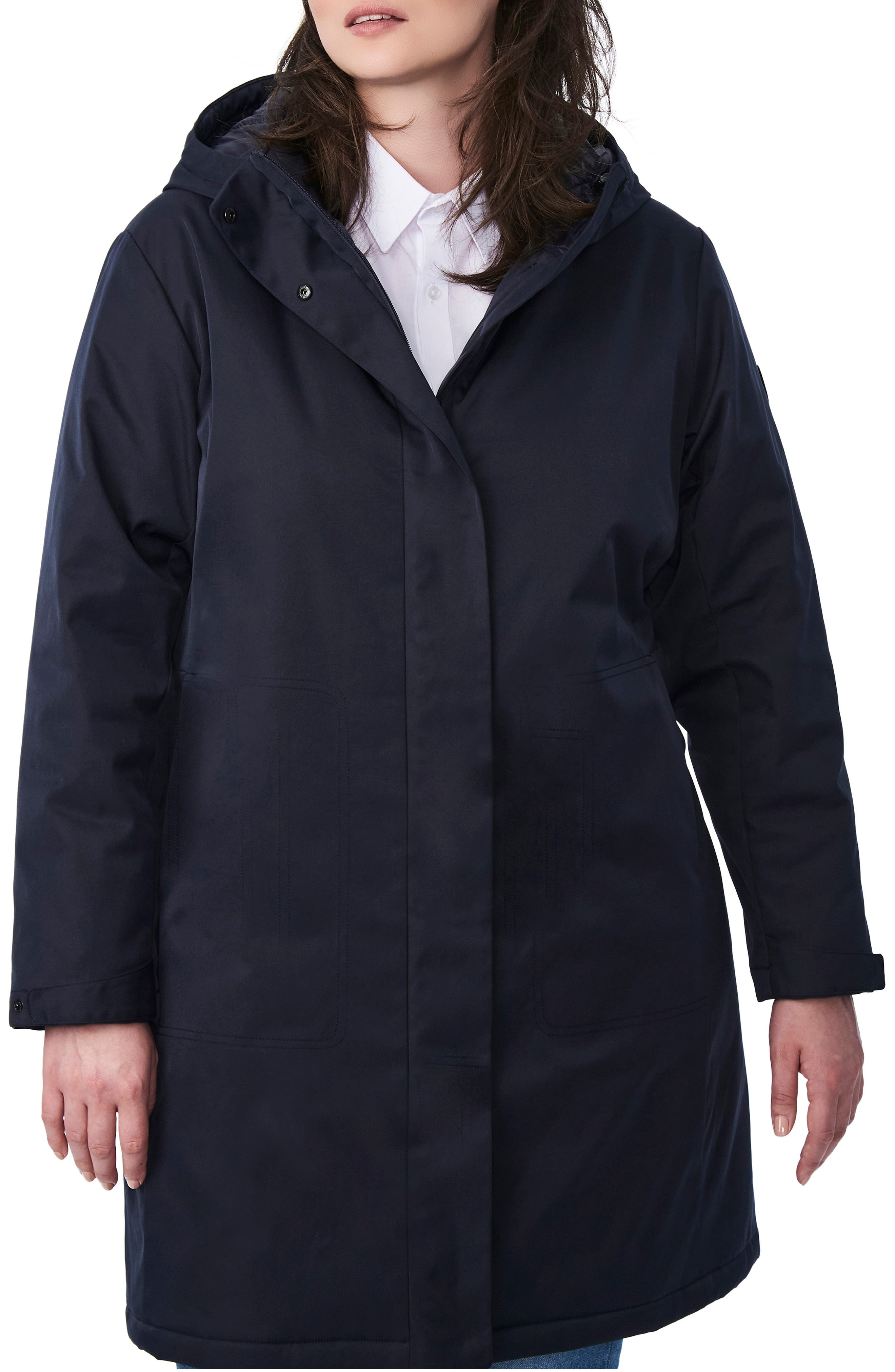Plus Size Women's Bernado Insulated Hooded Raincoat