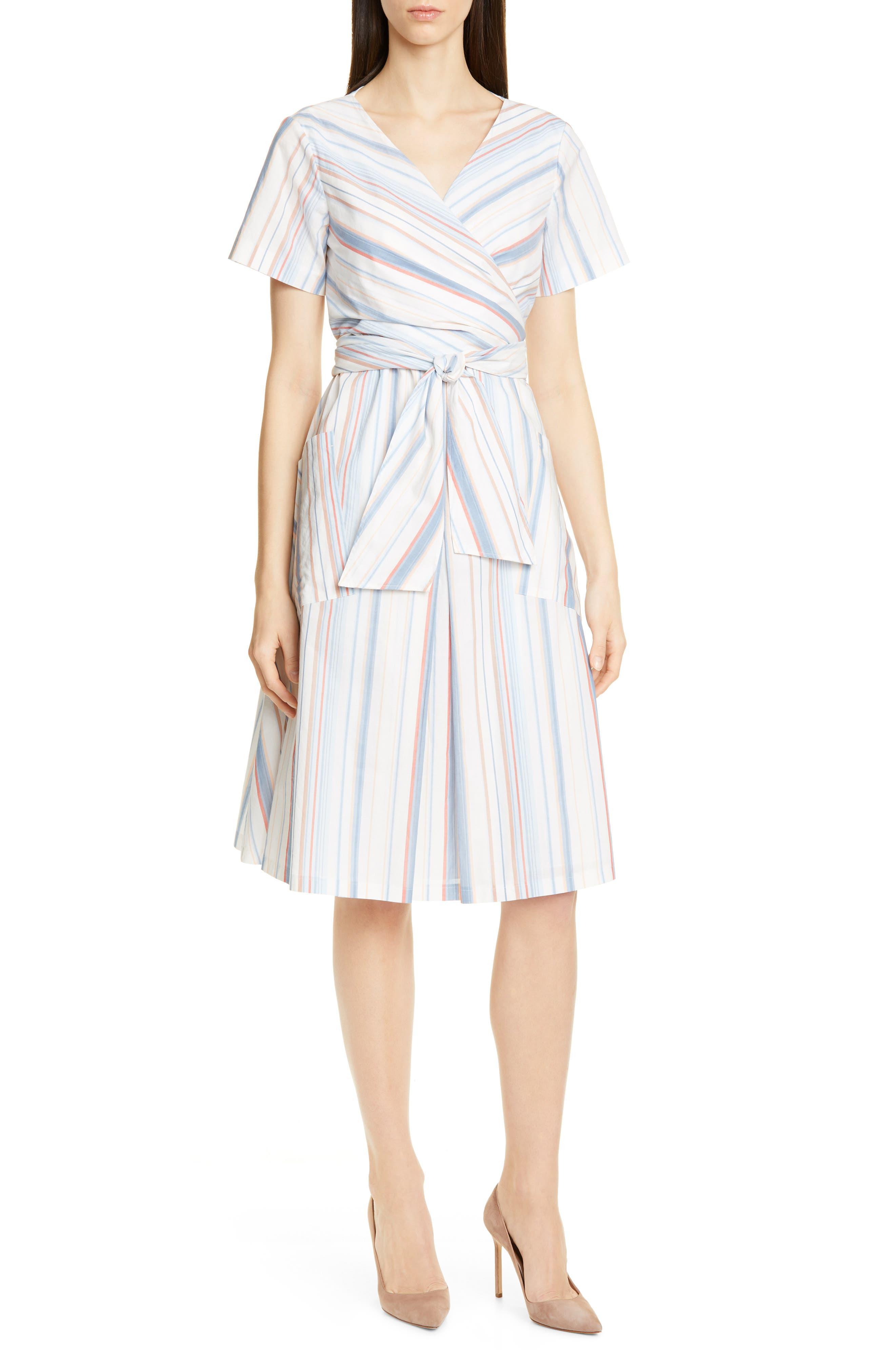 Boss Darap Stripe Faux Wrap Dress, White