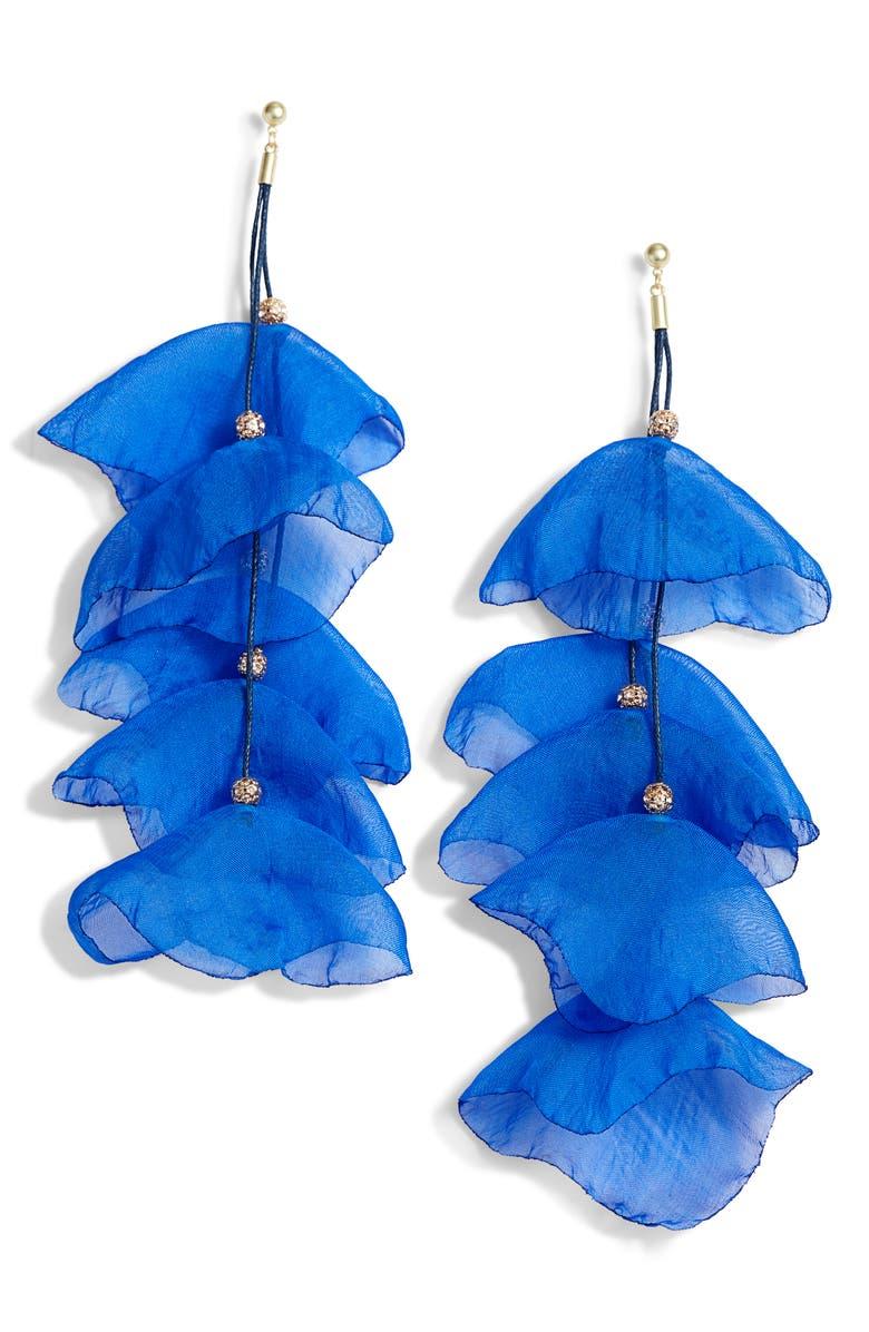 STELLA + RUBY Leanna Petal Chiffon Statement Earrings, Main, color, GOLD/ BLUE