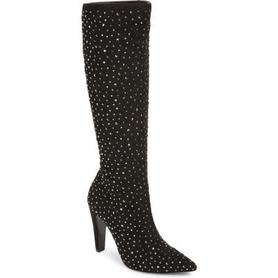 Nina Dacy Rhinestone Knee-High Boot, Black