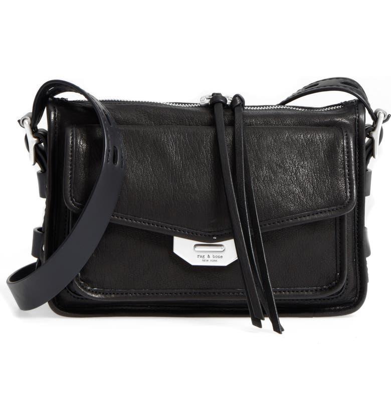 RAG & BONE Small Field Leather Messenger Bag, Main, color, BLACK