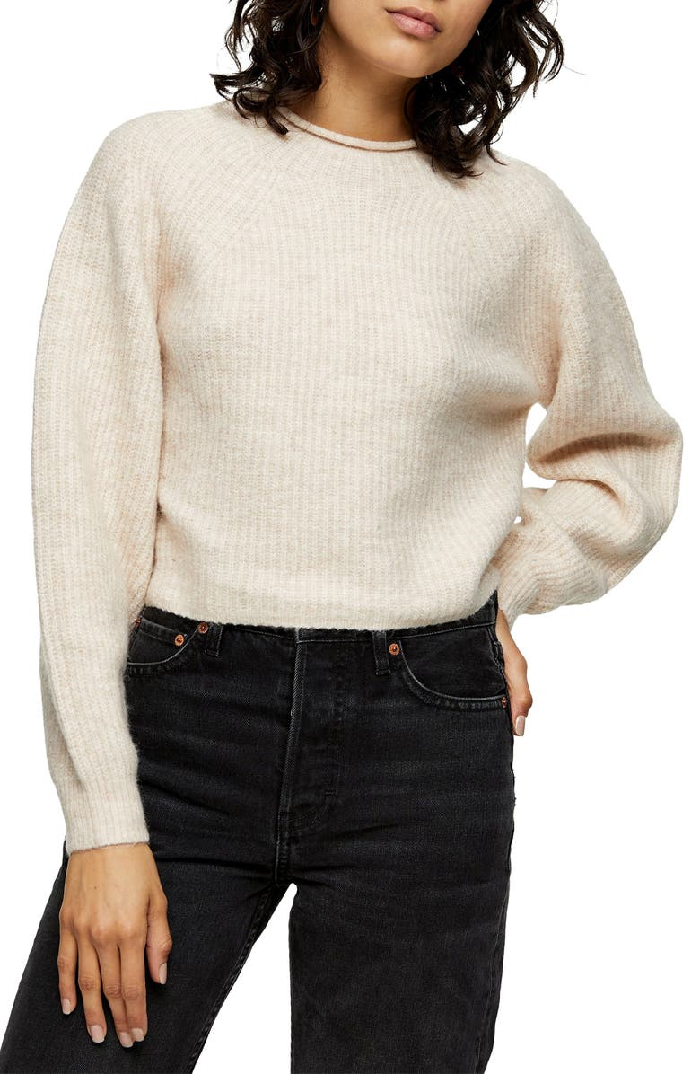 TOPSHOP Crop Crewneck Sweater, Main, color, NUDE