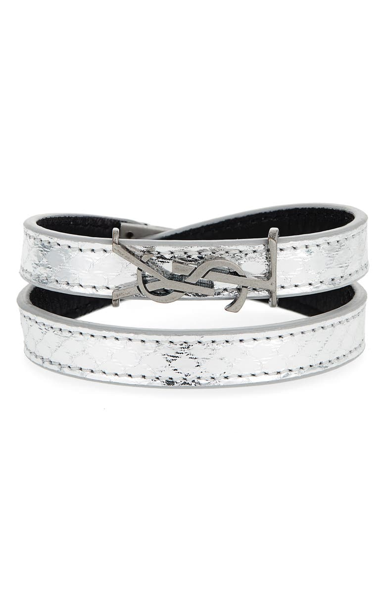 SAINT LAURENT YSL Double Wrap Bracelet, Main, color, ARGENTO