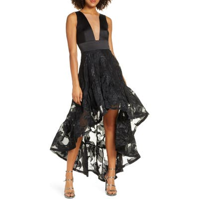 Bronx And Banco Fiona Noir Satin High/low Gown, Black